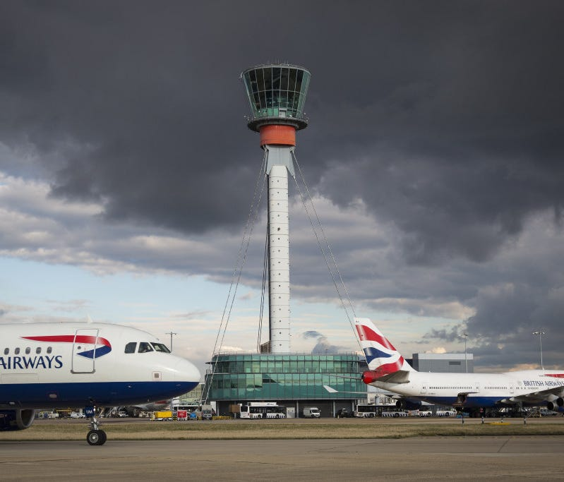The National Air Traffic Services (NATS) tower at Heathrow Airport on October 11, 2016.