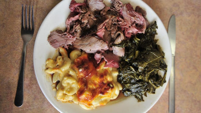 Roast beef, mac and cheese and greens from Arnold's Country Kitchen.