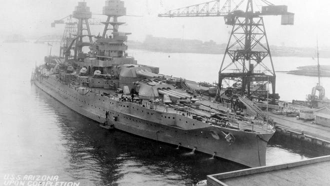 This photo of the USS Arizona was taken after the ship underwent modernization at the U.S. Navy Yard in Portsmouth, Va., in the 1930s. The ship was sunk during the attack on Pearl Harbor on Dec. 7, 1941. This photo of the USS Arizona was taken after the ship underwent modernization at the U.S. Navy Yard in Portsmouth, Va. The USS Arizona was sunk at Pearl Harbor in 1941. A 14-inch gun barrel from the ship is part of the USS Arizona Memorial at Wesley Bolin Memorial Plaza in Phoenix.