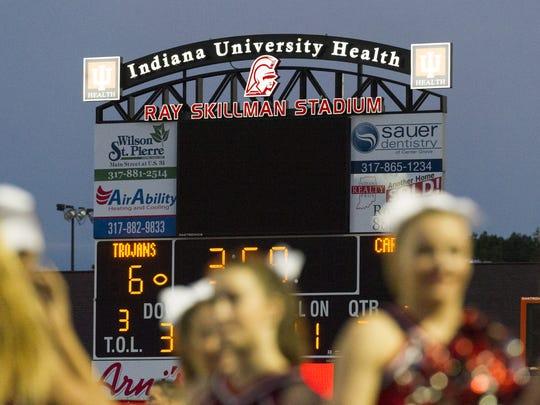 The scoreboard at Center Grove High School during an IHSAA varsity football game, Friday, Sept. 2, 2016, at Center Grove High School. Center Grove won, 19-6.