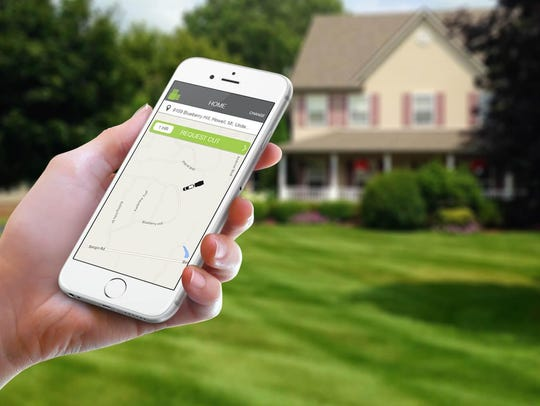 The app lists customers' requests for lawn cuts. Connected