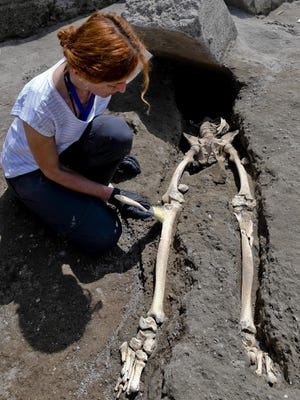 Anthropologist Valeria Amoretti next to the skeleton of a victim of the eruption that destroyed Pompeii, discovered during the most recent excavations carried out on the archaeological site in Pompei, Italy, May 29. These are the remains of a 35-year-old man, limping, hit by a pyroclastic cloud while, forced to linger by his physical disability, he turned to look at Vesuvius.
