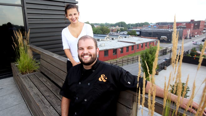 B-Town Pie Company's Chef Alex Heichelbrech and The Courier-Journal's Bailey Loosemore at Copper and Kings.July 26, 2016