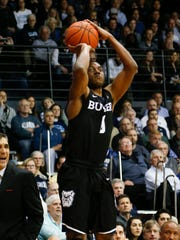 Butler guard Avery Woodson (0) in action during an NCAA college basketball game against Villanova, Wednesday, Feb. 22, 2017, in Villanova, Pa. (AP Photo/Laurence Kesterson)