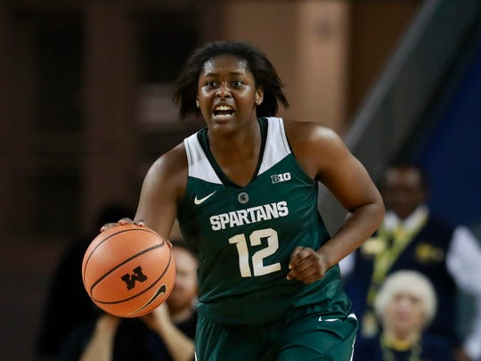Michigan State forward Nia Hollie brings the ball up