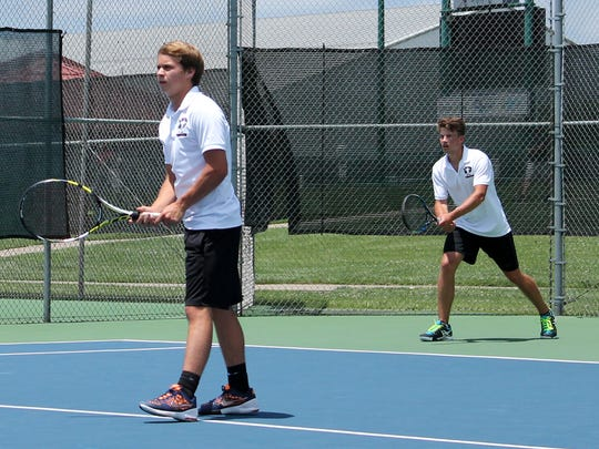 From left, three-time state qualifiers Jack Gold and Tucker Ethridge of Rogersville placed fourth in Class 1 doubles in the 2016 MSHSAA Boys Tennis Championships at Cooper Tennis Complex in Springfield.