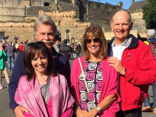 British Isles cruise With stops in Newcastle, Edinburgh, Glasgow, Dublin, Cork, Liverpool, Plymouth and London, Pat and Lisa Shoulders and Brent and Cindi Beeler are escaping the Indiana heat with a British Isles cruise.   The dashing foursome are seen posing in front of Edinburgh Castle.