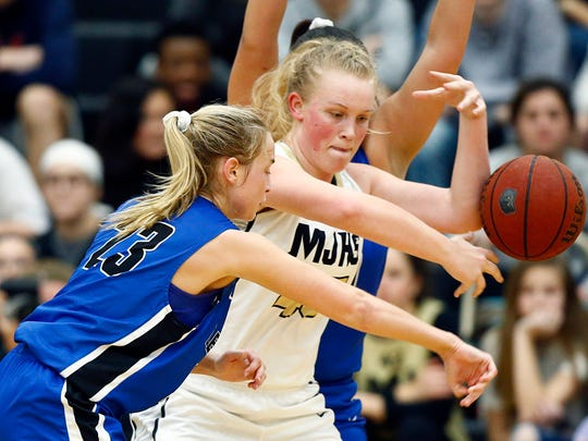 Mt. Juliet's Emma Palmer has the ball stripped by Lebanon's