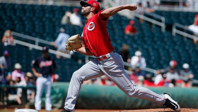 The Reds' Cody Reed throws a pitch against the Cleveland Indians during the second inning of a spring training baseball game Thursday, March 31, 2016, in Goodyear, Ariz. The Indians defeated the Reds 3-1.