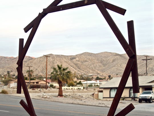 A sculpture by Simi Dabah located at the Veterans' Memorial Park in Desert Hot Springs. Photograph taken on Wednesday, Jan. 13, 2015.