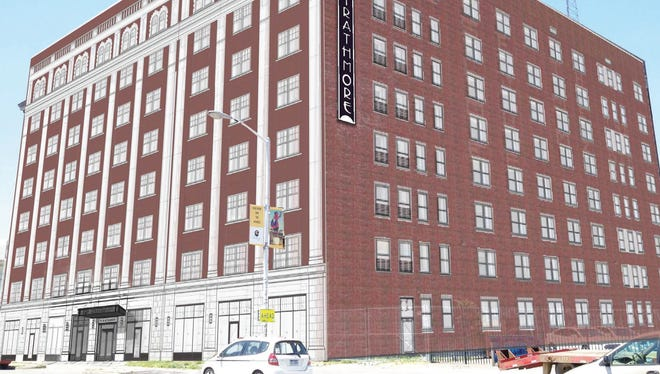 Rendering shows how the old Hotel Strathmore at 70 W. Alexandrine in Midtown Detroit will look when it reopens in 18 months as a mixed-use residential and retail development. The architect is Hamilton Anderson Associates of Detroit.