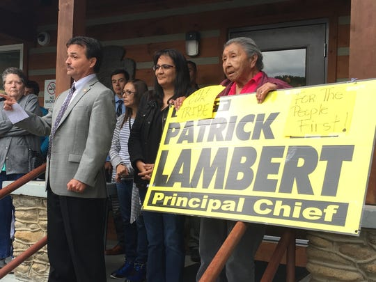 Former Principal Chief Patrick Lambert of the Eastern Band of Cherokees spoke to a crowd of supporters May 25. Lambert was impeached earlier that day by the Tribal Council.