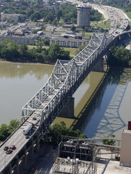 Interstates 71 and 75 converge at the Brent Spence Bridge in downtown Cincinnati.