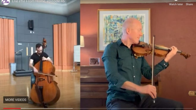 """This is a video screen shot of Kieran Hanlon, principal bass player for the Erie Philharmonic, at left, and Ken Johnston, concertmaster, playing remotely. They performed a duet called """"Gliere: Cradle Song"""" in a video posted on the Erie Philharmonic's website. In the absence of live productions because of COVID-19 restrictions, the Erie Phil is finding other ways to get music to its audiences and recently received a $63,000 state grant to offset COVID-19 revenue losses."""