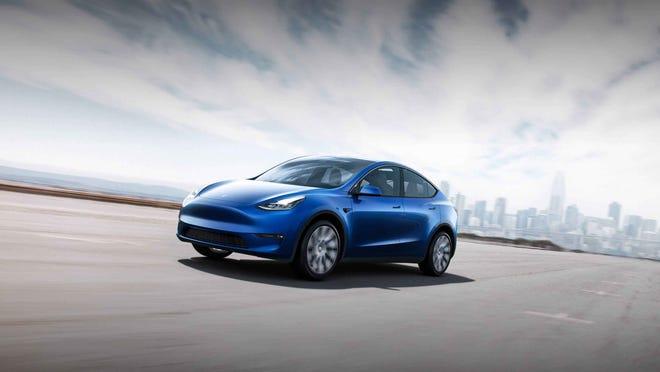 A Tesla Model Y on the road.