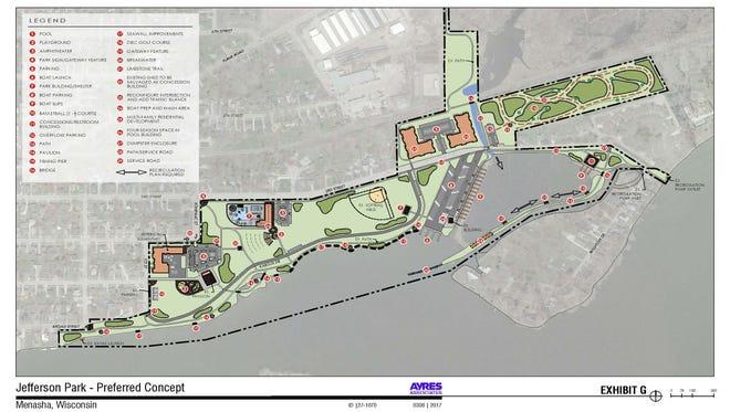 The preferred final concept for Menasha's Jefferson Park.