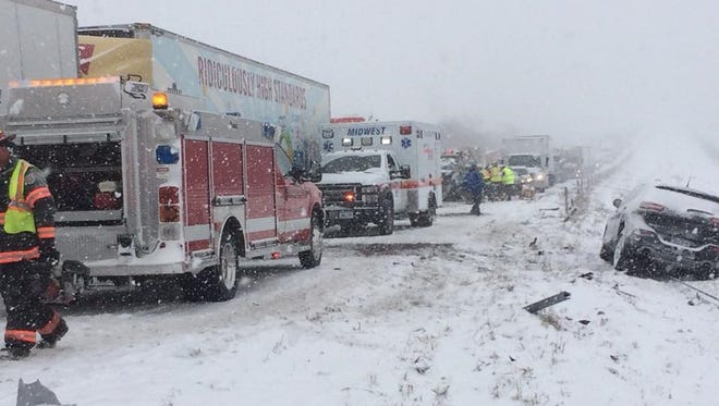 More than 20-vehicles were involved in a weather-related crash at the 190 westbound mile marker of Interstate 80 near Malcom on Monday, Feb. 5 which resulted in one fatality. The Malcom Volunteer Fire Department, Brooklyn Volunteer Fire Department, Grinnell Fire Department, East Poweshiek Ambulance Service, Midwest Ambulance and the Poweshiek County Sheriff's Office responded along with the Iowa State Patrol.