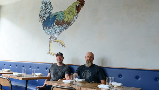 The Blue Hen Co-owners Joe Baker and Chris Bisaha at their new restaurant located in Rehoboth Beach. Monday, March 27, 2017.