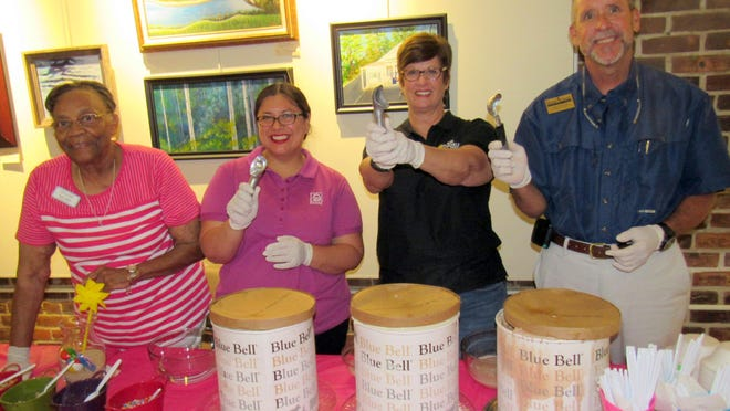 From left, Annie Rolle, Senior Services Advisory Council, Desloge Home Oxygen & Medical Equipment's Elizabeth Rathvon, Sun World Travel's Robyn Sheffield, and Home Instead Senior Care's Marc Moncrief are experts at scooping!