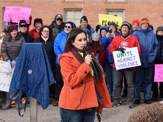 Event Organizer Angie Trulson speaks at the start of a March For Our Lives event Saturday, March 24, at city hall in Sartell.