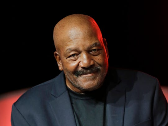 FILE - In this April 4, 2015, file photo, former Cleveland Browns running back Jim Brown is introduced during a press conference in Cleveland. The death of Muhammad Ali last week sent Brown, a four-time NFL MVP, and Kareem Abdul-Jabbar, the NBA's all-time scoring leader, strolling down memory lane, back to June 4, 1967 and a sunny day that they spent together in Cleveland.  (AP Photo/Tony Dejak)