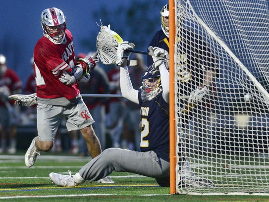 Canandaigua's Carson Greene, left, gets the ball past