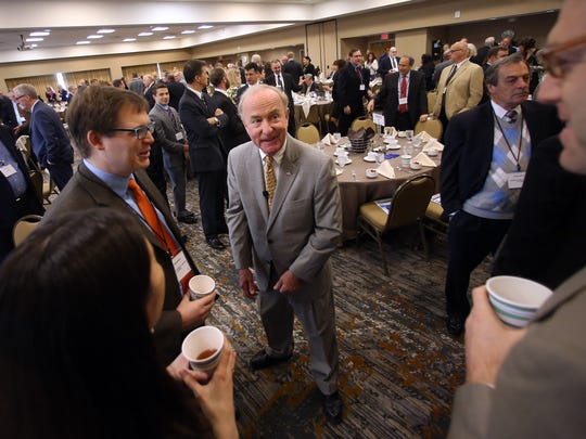 Congressman Rodney Frelinghuysen, c, mingles with Chamber members before he spoke during the Morris County Chamber of Commerce Washington Update Breakfast held at the Wyndham Hamilton Park Hotel and Conference Center in Florham Park. May 12, 2017, Florham Park, NJ