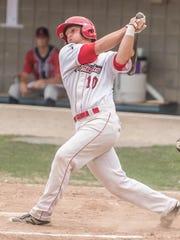 Battle Creek Bombers third baseman Ryan Dorow swings