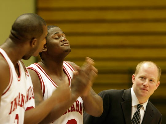 FILE - Rob Senderoff (right), shown with D.J. White (left) and DeAndre Thomas, was an assistant at Indiana. He is now the head coach at Kent State.