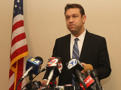 Congressman Trey Radel addresses the media after pleading guilty to cocaine possession Wednesday.
