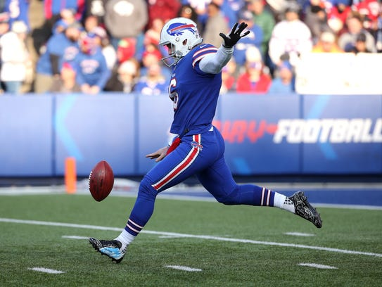 Bills punter Colton Schmidt punted four times agains