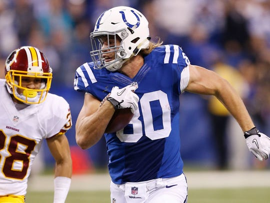 Coby Fleener of the Indianapolis Colts runs downfield on Nov. 30.