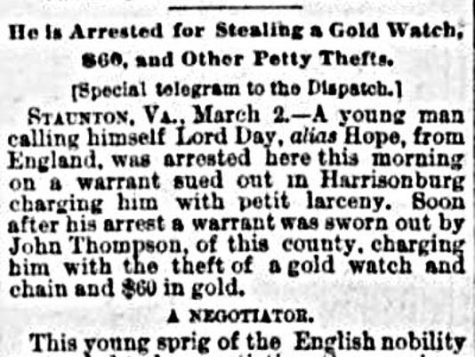 3-3-1891 Lord Hope arrested