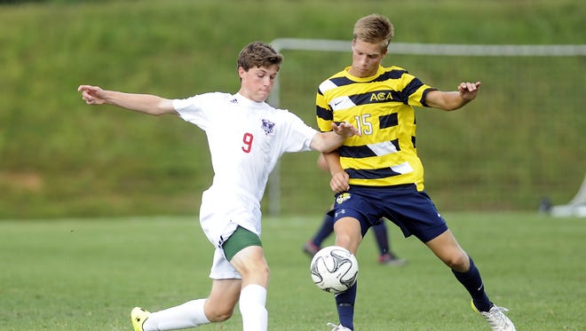 Tyson Hichman (9) was an All-WNC striker as a sophomore at Carolina Day.