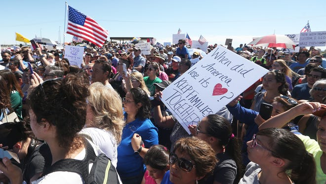 Hundreds of people turned out to take part in the Tornillo march at the Tornillo-Guadalupe Port of Entry Sunday East of El Paso.