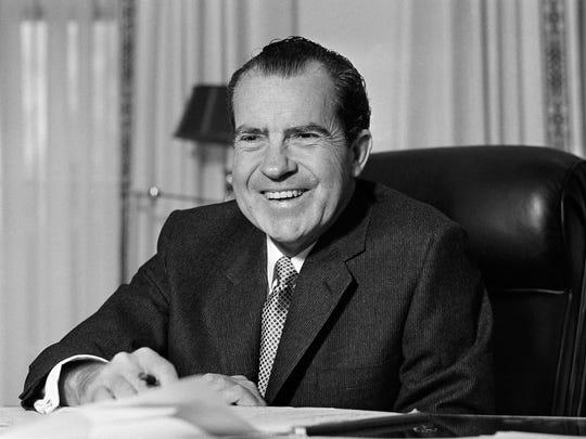 President Richard Nixon at his desk at the White House in Washington on Jan. 21, 1969.