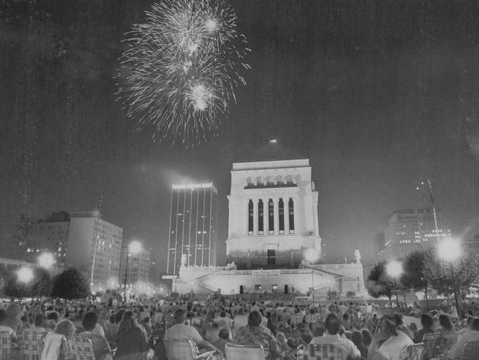 Even in black and white, it's a beautiful sight.  Hoosiers fill the American Legion Mall to watch the July 4th fireworks from the then Indiana National Bank building in 1980.
