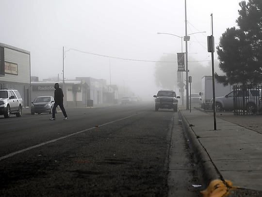 A foggy morning in downtown Wolf Point, Montana, Sept.