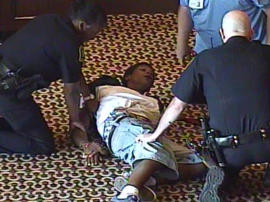 Jawari Porter is arrested after a seemingly random attack at Horseshoe Casino in 2015.