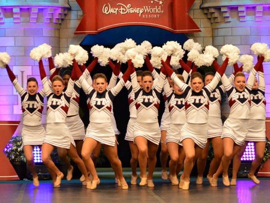 The STM Sparklers perform a pom routine at the UDA national championships in Orlando, Florida this weekend.