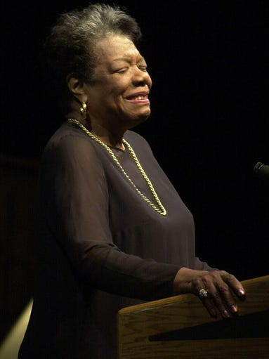 Poet and essayist Maya Angelou, who diedWednesday at the age of 86,lectured at least twice in the lower Hudson Valley. Here Angelou speaks during the Unique Lives & Experiences series at the SUNY Purchase Performing Arts Center in 2001.