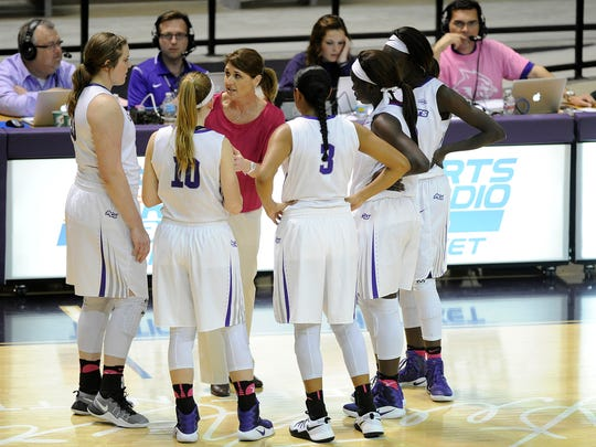 Abilene Christian head coach Julie Goodenough talks to her players during a timeout in the third quarter of the Wildcats' 72-64 win on Wednesday, Feb. 22, 2017, at ACU's Moody Coliseum.