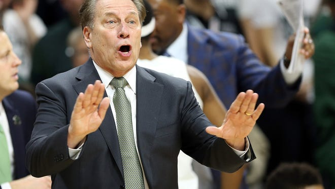 Michigan State Spartans head coach Tom Izzo reacts to a play during the second half of a game against the Wisconsin Badgers at the Jack Breslin Student Events Center. Mandatory Credit: Mike Carter-USA TODAY Sports