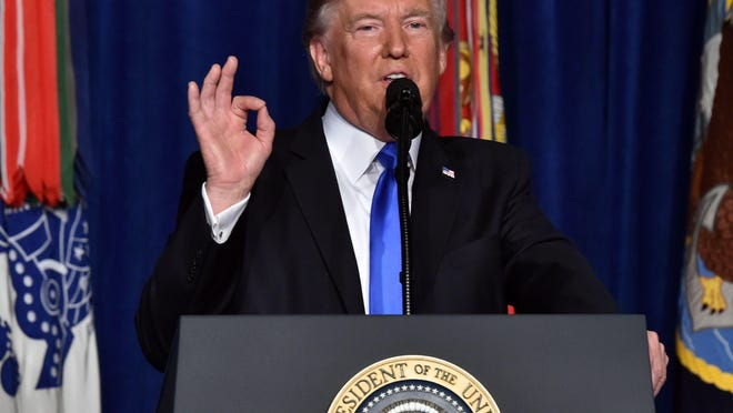 "President Donald Trump addresses the nation Aug. 21 from Joint Base Myer-Henderson Hall in Arlington, Virginia. Trump said a rapid Afghan exit would leave ""vacuum"" for terrorists."
