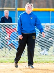Buena head coach Pam Pickett watches from the third base coaches box against Wildwood Catholic at Buena Regional High School on Wednesday, April 5.