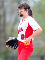 Vineland pitcher Nicole Ortega (9) prepares to pitch