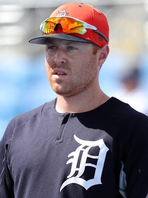 Feb 25, 2018; Dunedin, FL, USA; Detroit Tigers left fielder Mike Gerber works out prior to the game against the Toronto Blue Jays at Florida Auto Exchange Stadium.