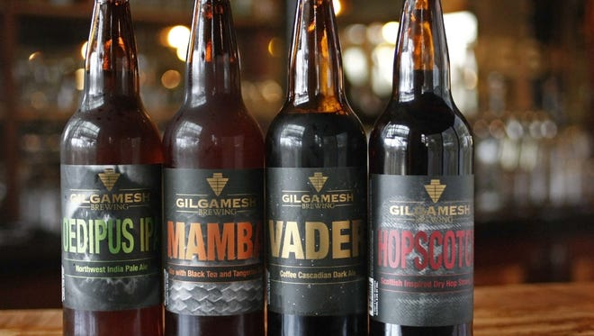 Four varieties of beer from Gilgamesh Brewing have fun names such as Oedipus and Mamba.