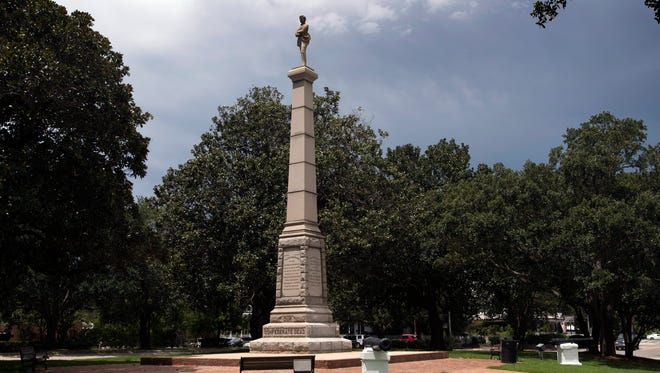 This statue dedicated to Our Confederate Dead sits on a hill at the top of Palafox Street in downtown Pensacola.