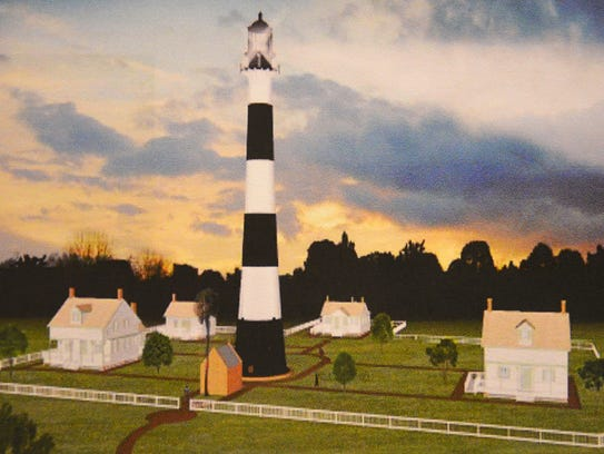 "This is an artist's rendering of the Cape Canaveral Lighthouse, surrounded by proposed replica ""keepers' cottages."""